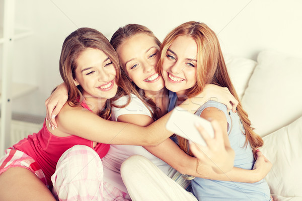 teen girls with smartphone taking selfie at home Stock photo © dolgachov
