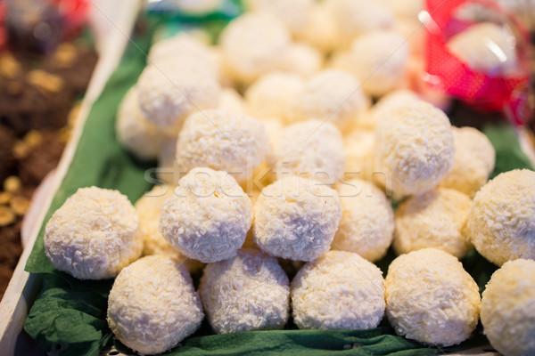 coconut cookies on stall Stock photo © dolgachov