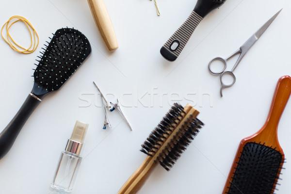 Stock foto: Schere · Haar · Spray · Werkzeuge · Schönheit · unterschiedlich