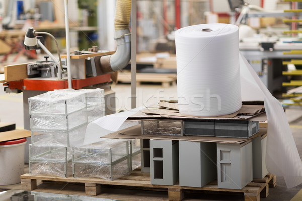 roll of foam wrap at woodworking factory workshop Stock photo © dolgachov