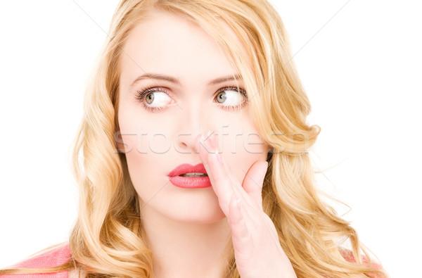 Fofoca brilhante quadro mulher jovem menina Foto stock © dolgachov