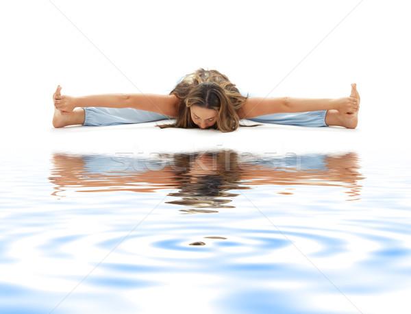 ashtanga yoga on white sand #3 Stock photo © dolgachov