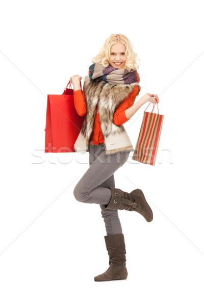 Vásárló kép nő bevásárlótáskák lány boldog Stock fotó © dolgachov