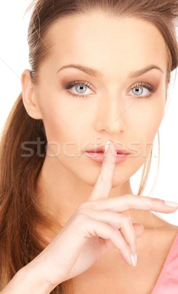 Doigt lèvres lumineuses photos jeune femme femme Photo stock © dolgachov