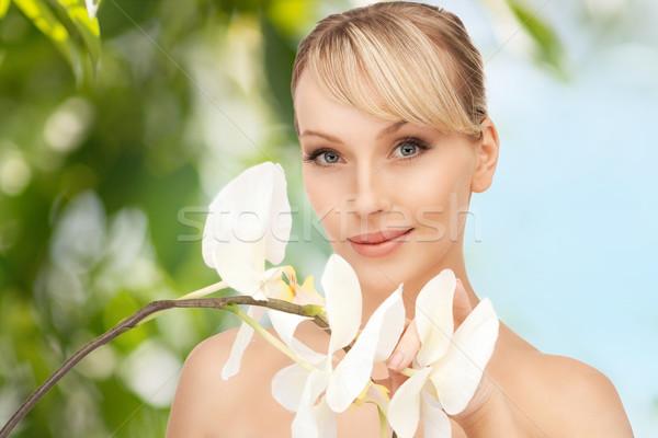 Foto stock: Mujer · hermosa · orquídeas · flor · Foto · mujer · naturaleza