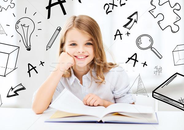 little student girl studying at school Stock photo © dolgachov