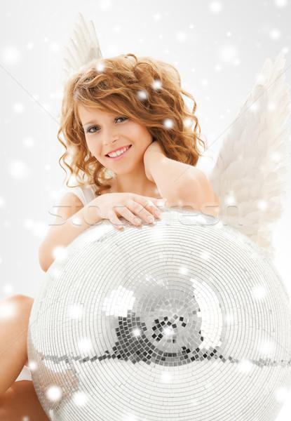 Mutlu melek kız disko topu tatil Stok fotoğraf © dolgachov
