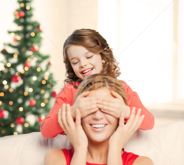 матери дочь шутка Рождества рождество Сток-фото © dolgachov