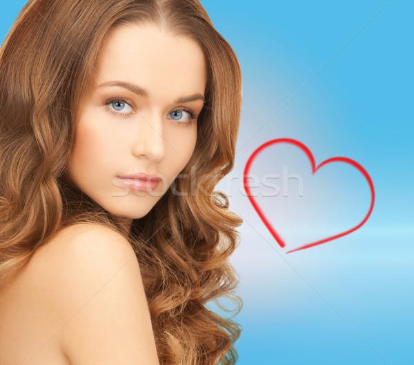красивая женщина длинные волосы здоровья красоту лице синий Сток-фото © dolgachov