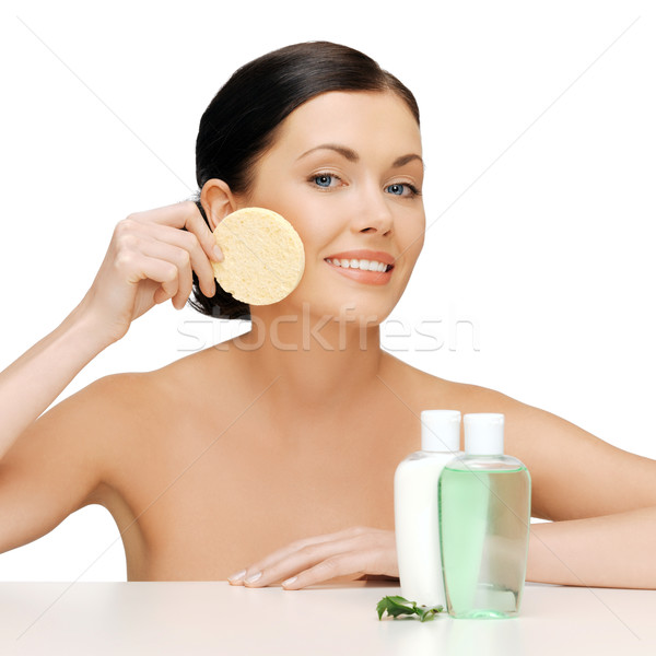 Donna spugna foto cosmetici bottiglie ragazza Foto d'archivio © dolgachov