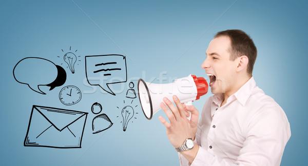 businessman with megaphone Stock photo © dolgachov
