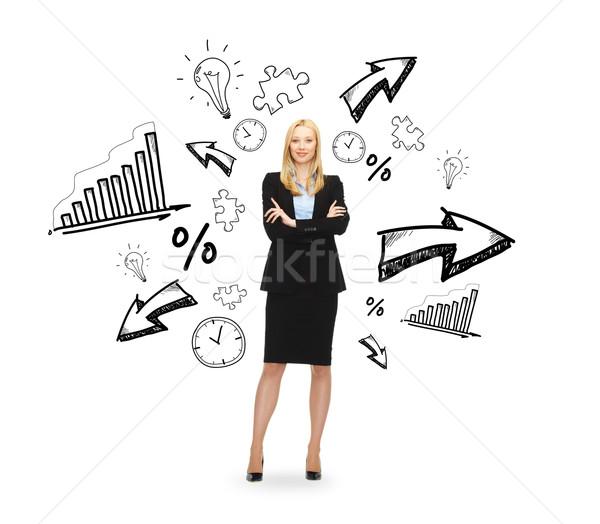 Jonge glimlachend zakenvrouw armen business onderwijs Stockfoto © dolgachov