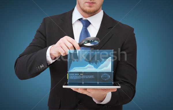 Foto stock: Empresário · mão · lupa · tecnologia