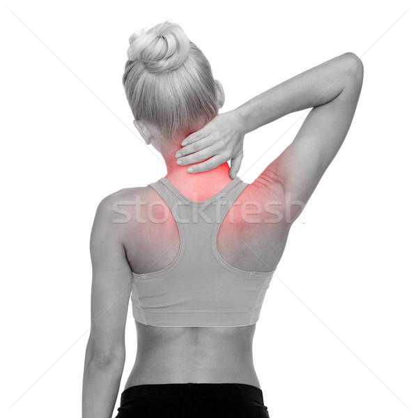 Vrouw aanraken nek fitness gezondheidszorg Stockfoto © dolgachov