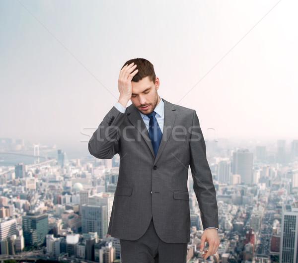 Stok fotoğraf: Yakışıklı · işadamı · baş · ağrısı · iş · eğitim · ofis