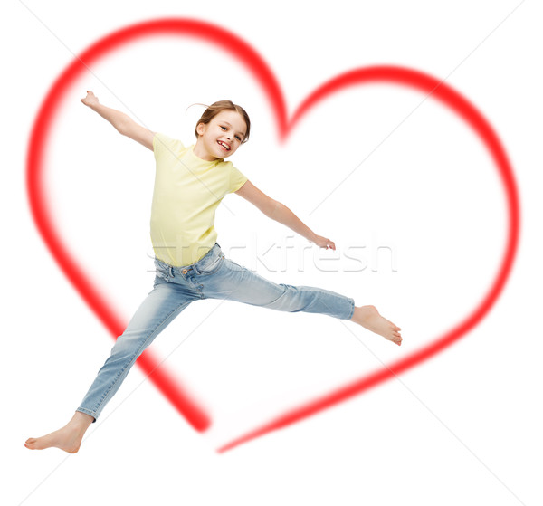 笑みを浮かべて 女の子 ジャンプ 幸福 活動 子 ストックフォト © dolgachov
