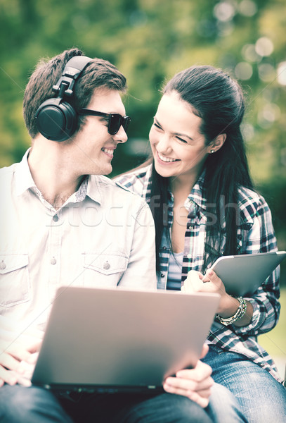 学生 青少年 ノートパソコン コンピュータ 夏 インターネット ストックフォト © dolgachov