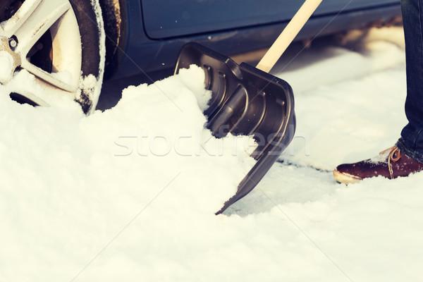 Photo stock: Homme · up · coincé · neige · voiture