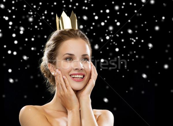 Mujer sonriente vestido de noche corona personas vacaciones Foto stock © dolgachov