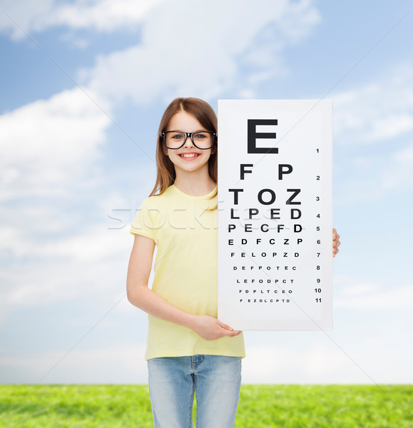 Сток-фото: девочку · очки · глаза · диаграммы · видение · здоровья