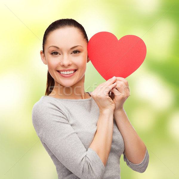 Stockfoto: Glimlachend · asian · vrouw · Rood · hart · geluk