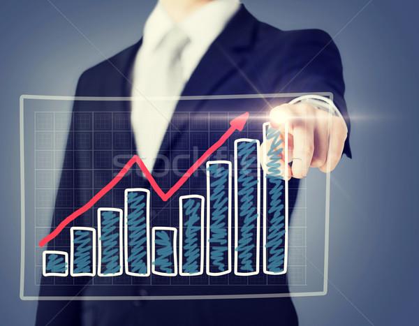 Zakenman hand grafiek virtueel scherm business Stockfoto © dolgachov