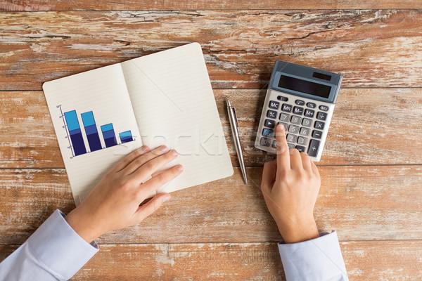 Stock fotó: Közelkép · kezek · számológép · notebook · üzlet · oktatás