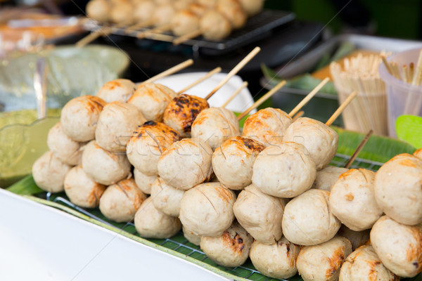 ミートボール 販売 通り 市場 料理 アジア ストックフォト © dolgachov