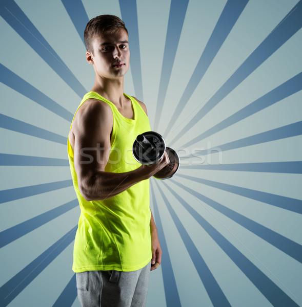若い男 ダンベル 上腕二頭筋 スポーツ フィットネス ストックフォト © dolgachov