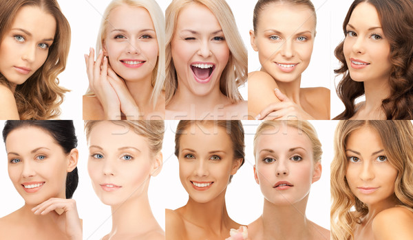 collage of many happy women faces Stock photo © dolgachov