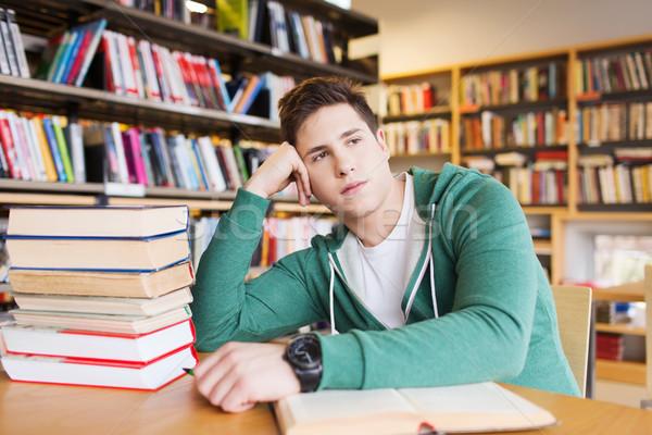 退屈 学生 若い男 図書 ライブラリ 人 ストックフォト © dolgachov