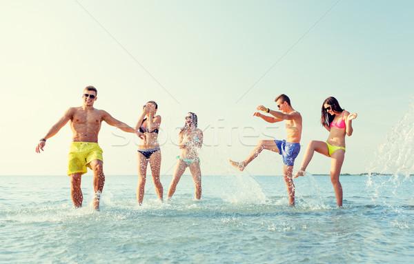 Foto stock: Feliz · amigos · verão · praia · amizade