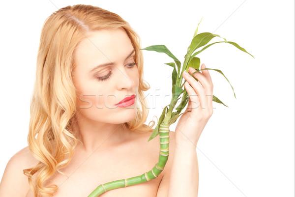 ストックフォト: 女性 · 芽 · 白 · 画像 · 健康 · 緑