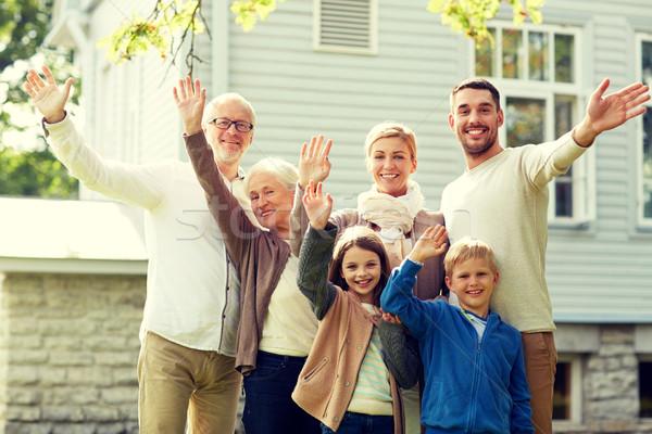 Mutlu aile eller ev jest mutluluk Stok fotoğraf © dolgachov