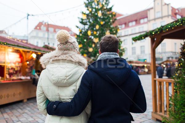 пару старый город Рождества праздников зима Сток-фото © dolgachov