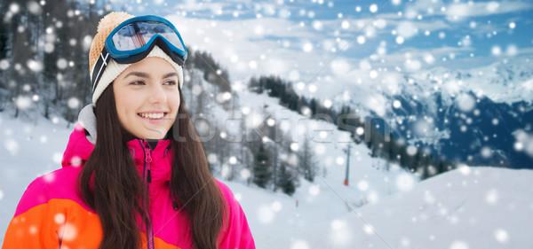 Boldog fiatal nő síszemüveg hegyek tél szabadidő Stock fotó © dolgachov