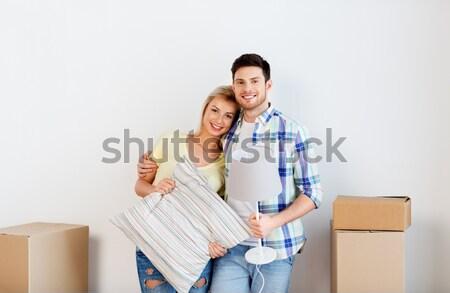 Stockfoto: Gelukkig · paar · bewegende · nieuw · huis · home · mensen