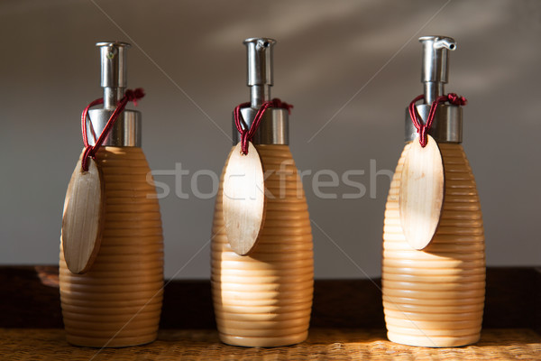 close up of liquid soap or body lotion at bathroom Stock photo © dolgachov