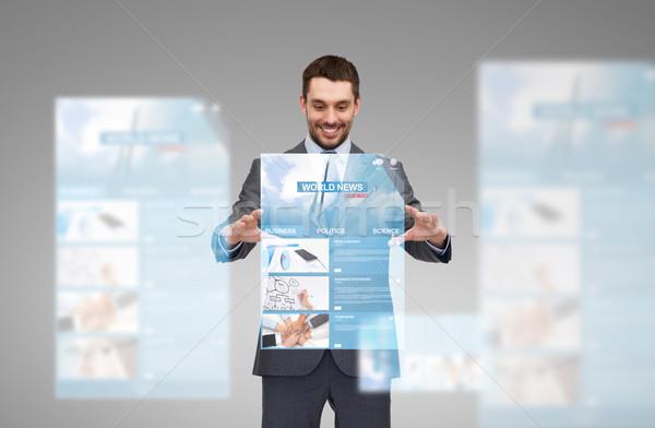 ビジネスマン 作業 世界 ニュース 投影 ビジネス ストックフォト © dolgachov