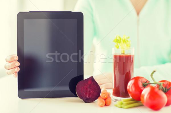 Stockfoto: Vrouw · groenten · gezond · eten · technologie