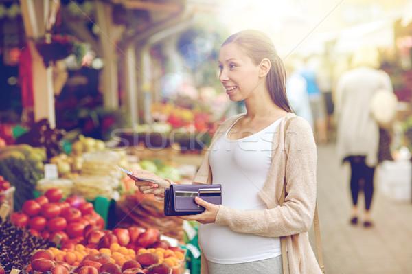 妊婦 ウォレット 買い 食品 市場 販売 ストックフォト © dolgachov