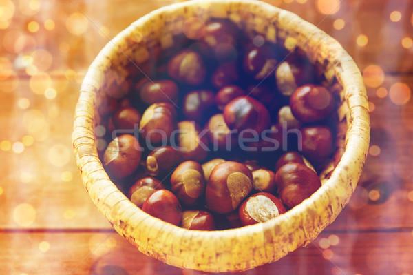 корзины деревянный стол природы сезон осень Сток-фото © dolgachov