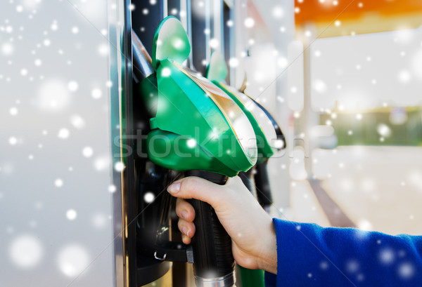 close up of hand holding hose at gas station Stock photo © dolgachov
