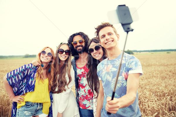 Hippie amigos vara natureza verão Foto stock © dolgachov