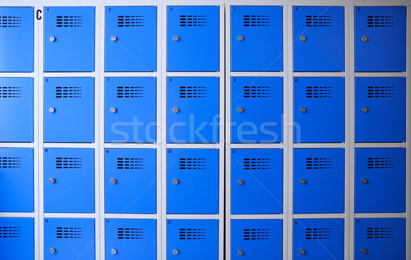 Stock photo: school or gym blue metal lockers