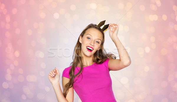 Foto stock: Feliz · mulher · jovem · menina · adolescente · princesa · coroa · pessoas