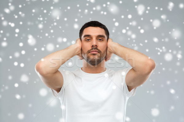 若い男 耳 手 雪 ストレス 問題 ストックフォト © dolgachov