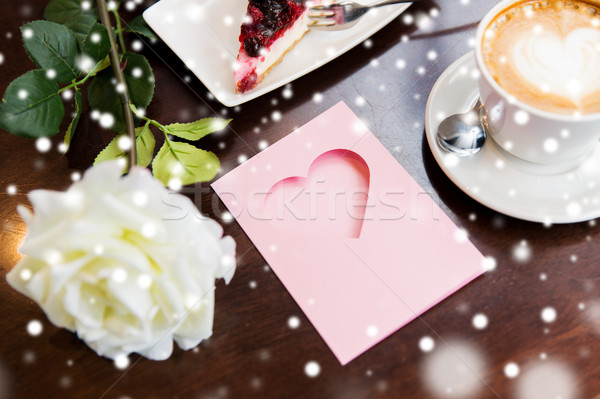 close up of greeting card with heart and coffee Stock fotó © dolgachov