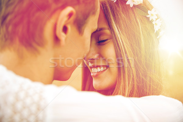 happy smiling young hippie couple outdoors Stock photo © dolgachov