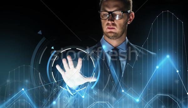 ビジネスマン 触れる バーチャル チャート 投影 ビジネスの方々 ストックフォト © dolgachov